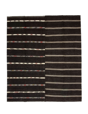 "Striped Large Vintage Turkish Kilim Rug - 11`2"" x 12`8"""