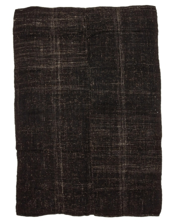 """Vintage Black Goat Hair Kilim Rug - 6`10"""" x 9`8"""""""