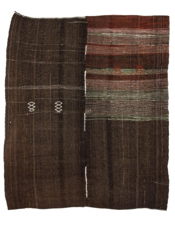 "One Of a Kind Vintage Brown Kilim - 7`4"" x 8`10"""