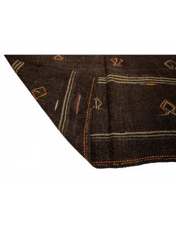 "Brown Vintage Embroidered Modern Kilim Rug - 6`1"" x 10`2"""