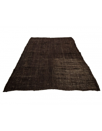 """Vintage Modern Dark Brown Kilim Rug - 7`3"""" x 9`4"""""""