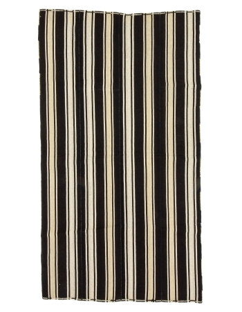 "Dark Brown & Ivory Vintage Striped Kilim Rug - 4`11"" x 9`0"""