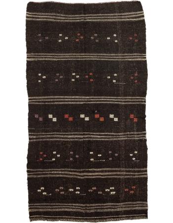 "Brown Vintage Embroidered Modern Kilim Rug - 5`7"" x 10`8"""