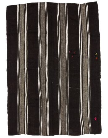 "Brown & White Striped Vintage Kilim Rug - 7`7"" x 10`4"""