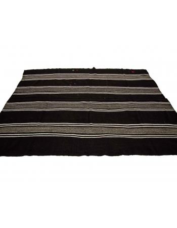 "Brown & White Striped Vintage Kilim Rug - 7`7"" x 10`4"""