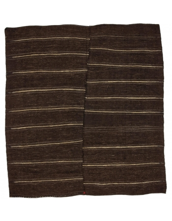 "Vintage Striped Brown Square Kilim Rug - 9`0"" x 9`6"""