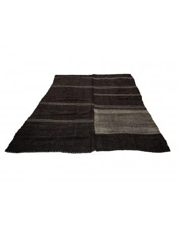 "Gray & Black Modern Vintage Kilim Rug - 7`9"" x 9`6"""
