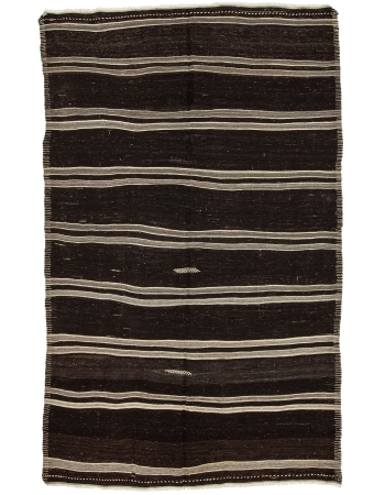 "Striped Vintage Handwoven Kilim Rug - 7`5"" x 11`8"""