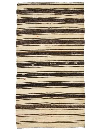 "Striped Vintage Turkish Kilim Rug - 6`7"" x 12`4"""