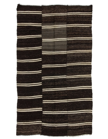 "Striped Unique Vintage Turkish Kilim Rug - 6`9"" x 11`6"""