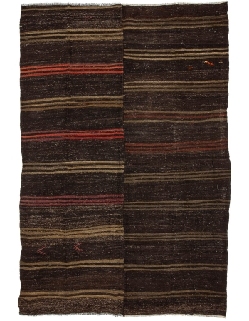 "Striped Large Vintage Kilim Rug - 7`10"" x 12`0"""