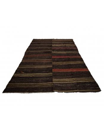 "Striped Large Vintage Kilim Rug - 7`10"" x 12`0"""