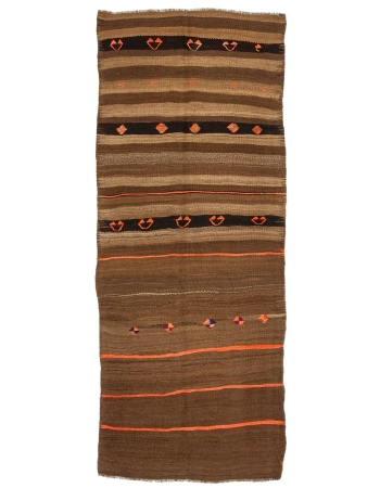 "Orange & Brown Striped Vintage Kilim Rug - 4`1"" x 10`4"""