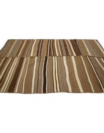 "Striped Natural Vintage Brown Kilim Rug - 6`3"" x 10`10"""