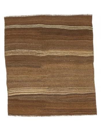 """Striped Vintage Small Brown Kilim Rug - 3`7"""" x 3`9"""""""