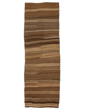"Natural Brown Striped Kilim Runner - 3`5"" x 11`8"""