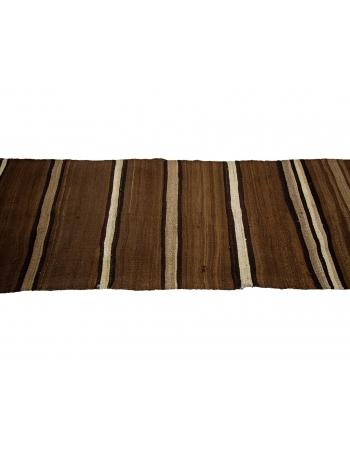 "Striped Vintage Brown Natural Kilim Runner - 3`11"" x 11`2"""