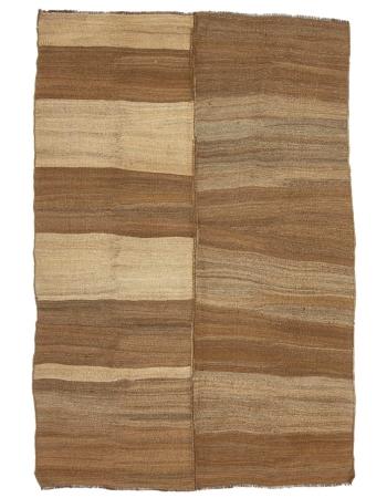 "Brown Handwoven Natural Vintage Kilim Rug - 6`3"" x 9`0"""