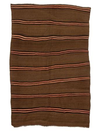 """Striped Vintage Brown Kilim Rug - 5`9"""" x 8`6"""""""
