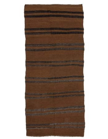 "Brown Vintage Striped Kilim Rug - 3`11"" x 9`0"""