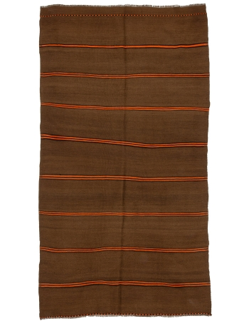 "Brown & Orange Striiped Vintage Kilim rug - 5`5"" x 10`4"""