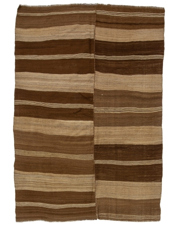 "Brown Natural Handwoven Vintage Kilim Rug - 6`7"" x 9`8"""