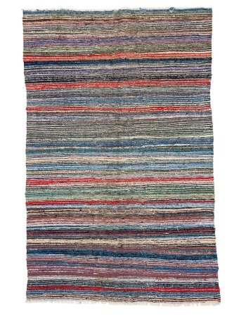 "Handwoven Vintage Colorful Rag Rug - 5`3"" x 8`0"""
