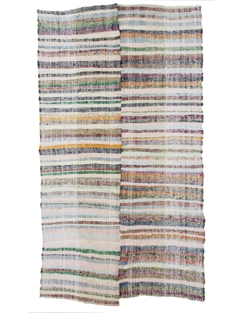 "Striped Vintage Turkish Rag Rug - 4`11"" x 8`10"""