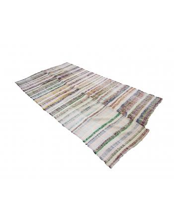 "Striped Vintage Turkish Rag Rug - 4`11"" x 8`10"""