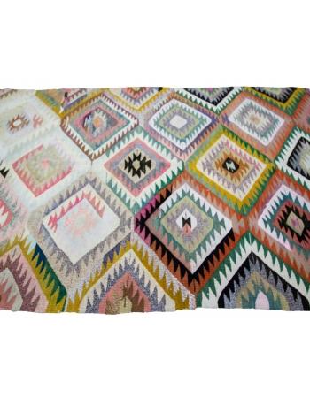 "Colorful Vintage Handwoven Kilim Rug - 6`0"" x 9`2"""