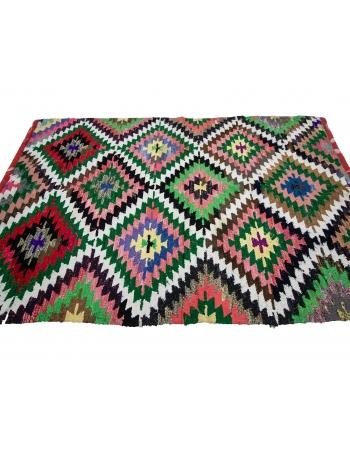 "Handwoven Colorful Vintage Turkish Kilim Rug - 4`6"" x 6`8"""