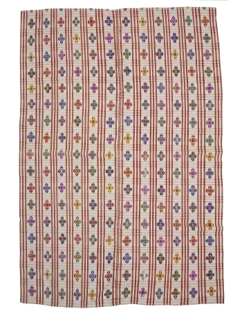 "Large Vintage Handwoven Embroidered Kilim - 7`5"" x 11`0"""