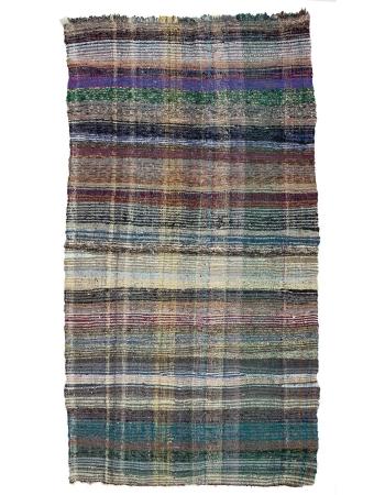 "Vintage Modern Striped Rag Rug - 5`1"" x 9`10"""