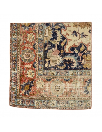 "Vintage Small Distressed Rug - 3`3"" x 3`6"""