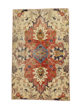 "Small Vintage Worn Decorative Rug - 3`5"" x 5`3"""