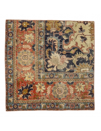 "Worn Vintage Small Persian Rug - 3`5"" x 3`5"""
