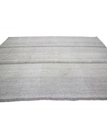 "Large Modern Vintage Turkish Gray Kilim Rug - 8`8"" x 12`8"""
