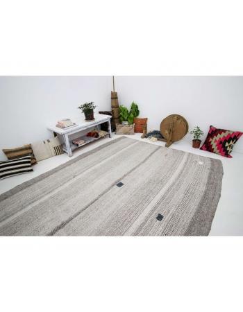 "Gray Vintage Modern Kilim Rug - 7`1"" x 9`5"""