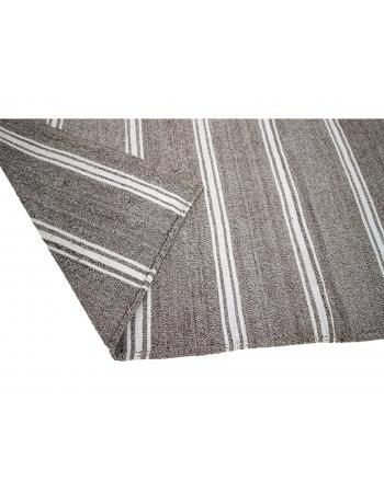 "Gray & White Striped Large Kilim Rug - 9`4"" x 12`2"""