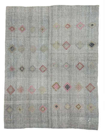"Gray Embroidered Vintage Turkish Kilim Rug - 7`5"" x 9`7"""