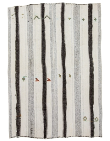 "Striped Vintage Modern Turkish Kilim Rug - 7`1"" x 9`11"""