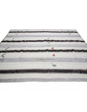 "Striped Vintage Modern Turkish Kilim Rug - 7`1"" x 9`11"""