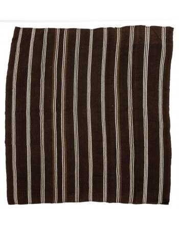 """Large Vintage Brown & White Kilim Rug - 9`0"""" x 9`4"""""""