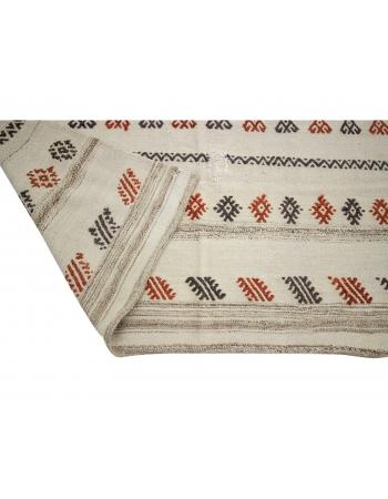 """Embroidered Vintage Turkish Kilim Rug - 5`8"""" x 7`9"""""""