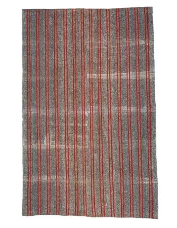 """Red & Gray Striped Vintage Kilim Rug - 7`1"""" x 11`2"""""""