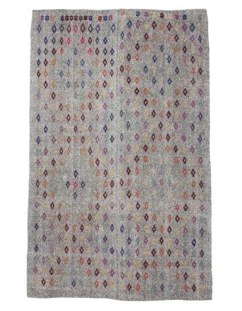 """Embroidered Gray Turkish Vintage Kilim  - 6`9"""" x 10`6"""""""