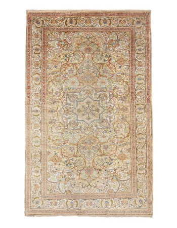 "Silk Vintage Turkish Kaisari Rug - 4`9"" x 7`7"""