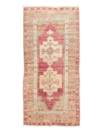 "Vintage Wool Turkish Konya rug - 3`7"" x 7`5"""