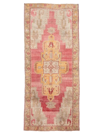 "Vintage 1960's Turkish Wool Konya Rug - 5`1"" x 12`0"""