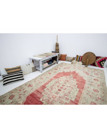 """Vintage Washed Out Turkish Wool Rug - 5`9"""" x 10`11"""""""